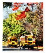 Parked School Buses Fleece Blanket