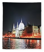 Parliament And The Danube Fleece Blanket