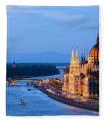 Parliament Building In Budapest At Evening Fleece Blanket