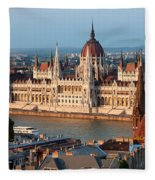 Parliament Building In Budapest At Sunset Fleece Blanket