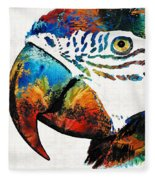 Parrot Head Art By Sharon Cummings Fleece Blanket