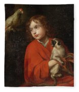 Parrot Watching A Boy Holding A Monkey Fleece Blanket