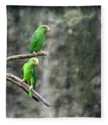 Parrots In The Rain Fleece Blanket