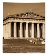 Parthenon In Sepia 3 Fleece Blanket