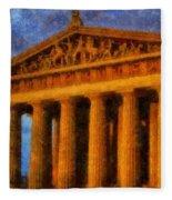Parthenon On A Stormy Day Fleece Blanket
