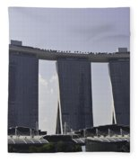 Partial View Of The Artscience Museum And The Marina Bay Sands Fleece Blanket