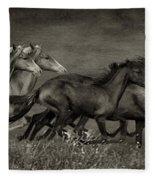 Paso Peruvian Horses On The Run Fleece Blanket