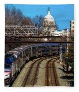 Passenger Metro Train With Us Capitol Fleece Blanket