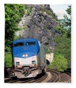 Passenger Train Locomotive Fleece Blanket
