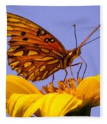 Passion Butterfly On The Mexican Sunflower Fleece Blanket