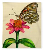 Passion Butterfly On Zinnia Fleece Blanket