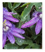 Passion Vine Flower Rain Drops Fleece Blanket