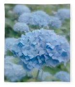 Pastel Blue Hydrangea Fleece Blanket