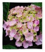 Pastel Pink Hydrangea Fleece Blanket