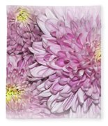 Pastel Pink Mums Fleece Blanket