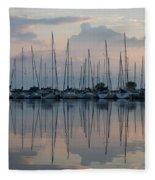 Pastel Sailboats Reflections At Dusk Fleece Blanket
