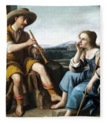 Pastoral Scene With A Shepherd Family Against A Countryside Background Fleece Blanket