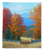 Pasture Gate In Autumn Fleece Blanket