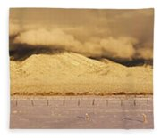 Pasture Land Covered In Snow At Sunset Fleece Blanket