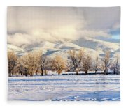 Pasture Land Covered In Snow With Taos Fleece Blanket