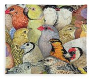 Patchwork Birds Fleece Blanket
