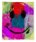Patchwork Smiley Face Fleece Blanket