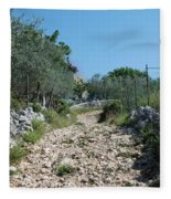Path Among Olive Trees Fleece Blanket