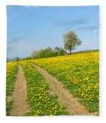 Path In Dandelion Meadow  Fleece Blanket
