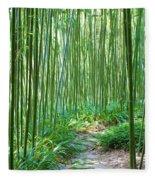 Path Through Bamboo Forest Fleece Blanket