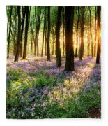 Sunrise Path Through Bluebell Woods Fleece Blanket