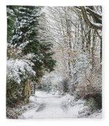 Path Through The Snow Fleece Blanket