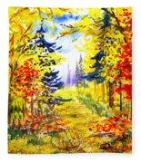 Path To The Fall Fleece Blanket