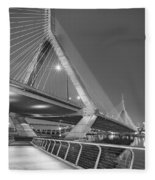 Path To The Leonard P. Zakim Bridge Bw Fleece Blanket