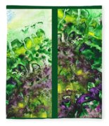 Path To The Unknown Diptych In Green Fleece Blanket