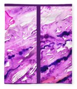 Path To The Unknown Diptych In Purple Fleece Blanket