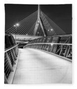 Path To The Zakim Bridge Bw Fleece Blanket