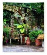 Patio Garden In The Rain Fleece Blanket