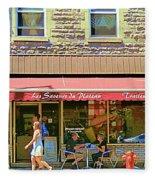 Patisserie Les Saveurs Du Plateau Pique Nique Et Emporter Montreal Cafe Scene Art By Carole Spandau  Fleece Blanket