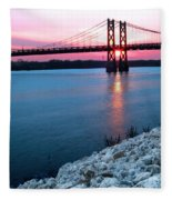 Patriotic Sunset Thru Bridge Fleece Blanket