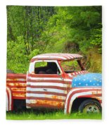 Patriotic Truck Fleece Blanket