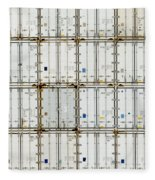 Pattern Of Shipping Container Stack At Depot Fleece Blanket