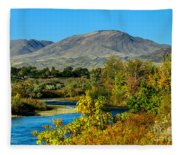 Payette River And Squaw Butte Fleece Blanket