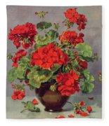 Geranium In An Earthenware Vase Fleece Blanket