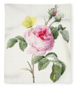 Pink Rose With Buds Fleece Blanket