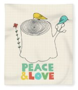 Peace And Love Fleece Blanket