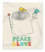 Peace And Love Fleece Blanket