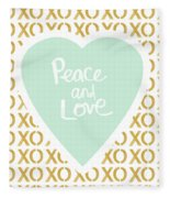 Peace And Love In Aqua And Gold Fleece Blanket by Linda Woods