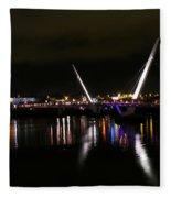 The Peace Bridge At Night Fleece Blanket