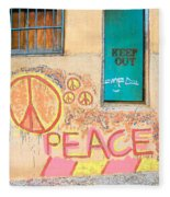 Hippie Graffiti - Peace But Keep Out Fleece Blanket
