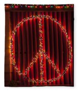 Peace Sign Christmas Lights Fleece Blanket